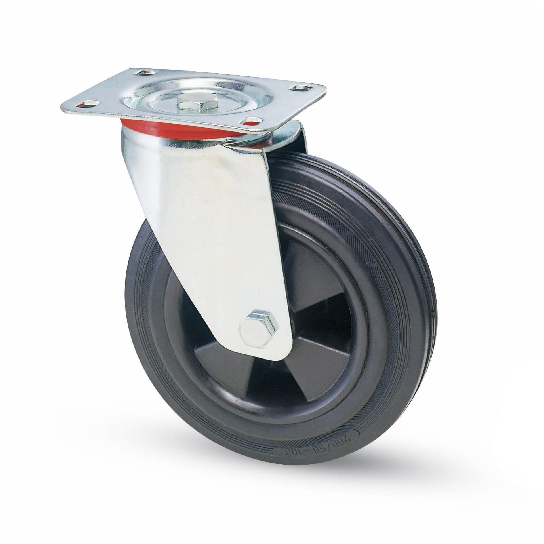 roue et roulette caoutchouc noir industries roue et roulettes zingu es. Black Bedroom Furniture Sets. Home Design Ideas